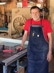 Wally Slobodan in his woodworking shop